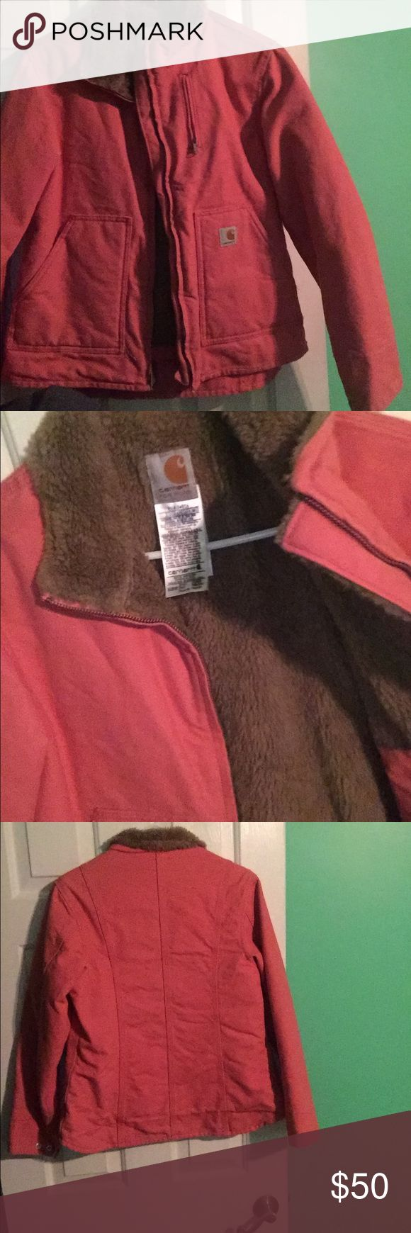 Pink carhartt jacket Like new maybe worn 4 times paid $85 Carhartt Jackets & Coats