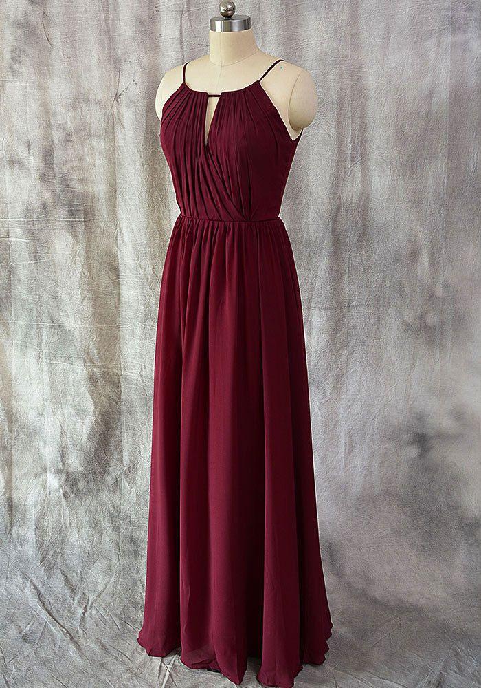 A-line Halter Burgundy Chiffon Long Bridesmaid Dresses,Wedding Party Dresses,apd2522