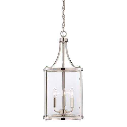 "Penrose Chrome And Polished Nickel Three Light Foyer Pendant Savoy House Lantern Pendant L 12"" wide For Jil Sonia Interior Designs client Chilliwack, BC"