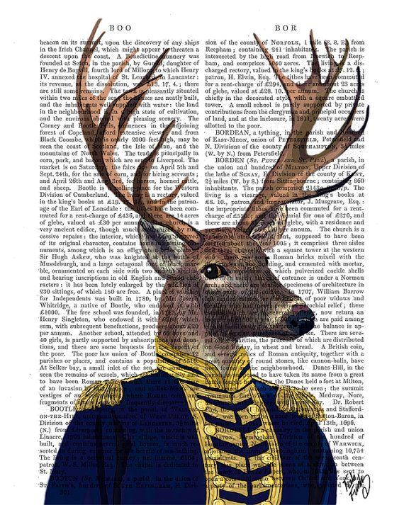 Captain Deer Deer Print in military uniform Deer by FabFunky, $15.00