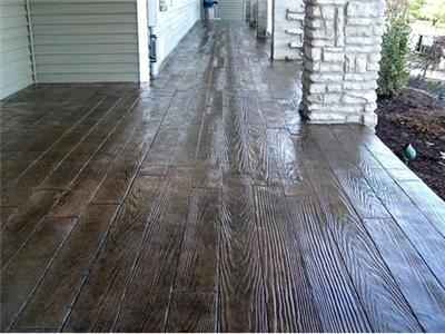 Concrete that's been stamped and stained to look like hardwood