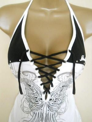 HARLEY DAVIDSON Black & White Lace Up Halter Top Studded Butterfly Medium