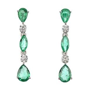 Dazzling emerald and diamond ear pendants