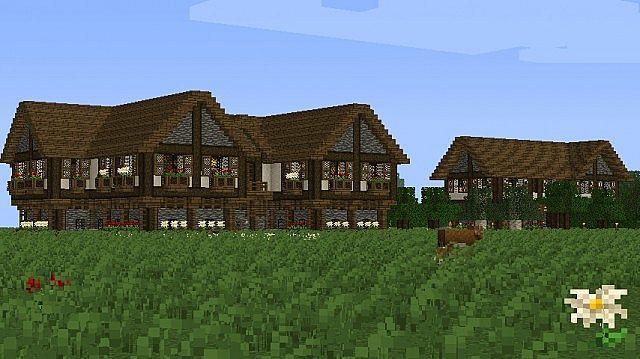 Tudor Style Medieval Manor Pub Inn 1 4 2 Minecraft Map Tudor Style Tudor Style Homes Medieval Houses