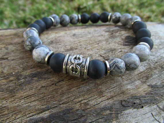 Gray Jasper Men's Bracelet with Matte Black Onyx Beads and
