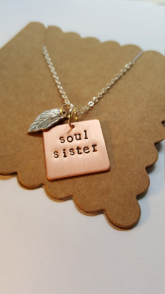 Bestie or Soul Sister Necklace Best by WatermelonHeartsShop