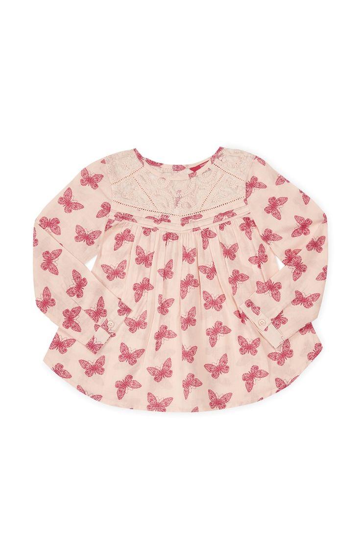 Primark - Roze shirt met vlinderprint