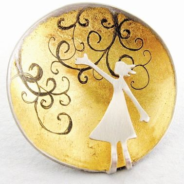 Reaching for the Rushing wind brooch | Contemporary Brooches by contemporary jewellery designer Becky Crow