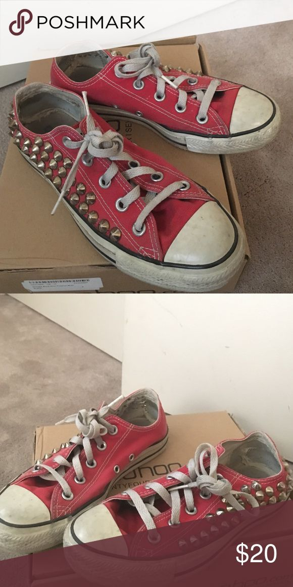 Studded Converse (MENS 4 / WOMENS 6) red studded converse, passed down to me but they're WAY too big. 😞 I'm normally a womens 4... the studs add a perfect touch to these for any outfit! Converse Shoes Sneakers
