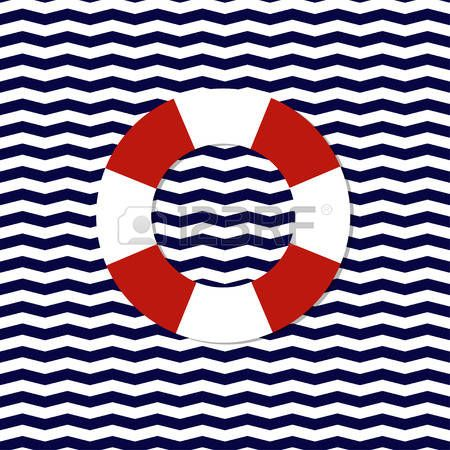 abstract lifebuoy symbol on the seamless chevron background vector photo