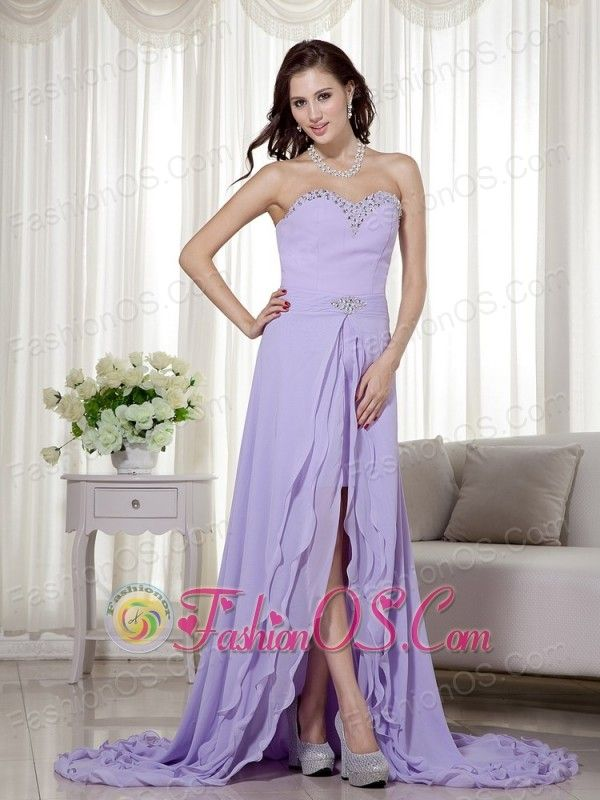 Lilac Detachable High Low Chiffon Prom Dress Sweetheart Brush Train Beading  http://www.fashionos.com   zipper up back prom dress | cheap prom dress under 150 | lovely 2013 prom dress | online dress store on sale | high end low price | fairy tales dress | where you can order prom dress | classy prom dresses | beaded chiffon prom dress | homecoming dress online |  The lavenda prom dress is surely the first choice for any of your occasion.