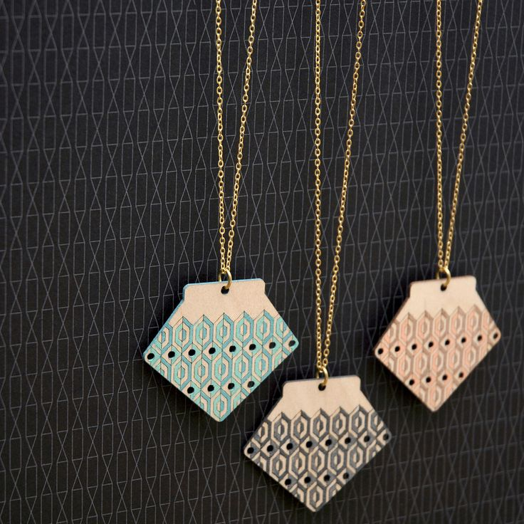 Ethically produced and eco-friendly Birch necklace, hand-painted with translucent acrylics in three duotone colours.Materials: Sustainably harvested Birch cut using green power, Raw Brass (Lead...