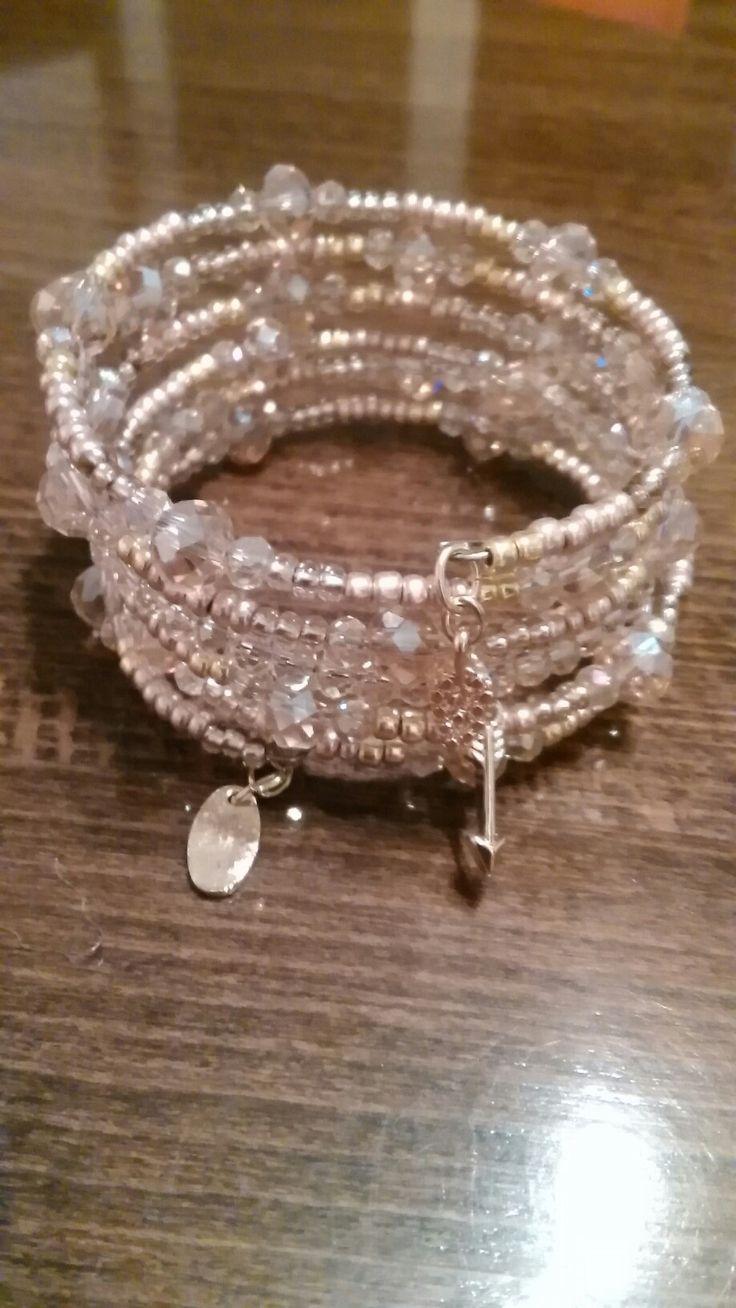 Ružovo-zlatý náramok ,TOHO korálky,crystal pink AB/memory wire bracelet