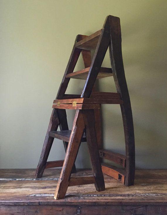 Reclaimed primitive wood step ladder chair ben franklin