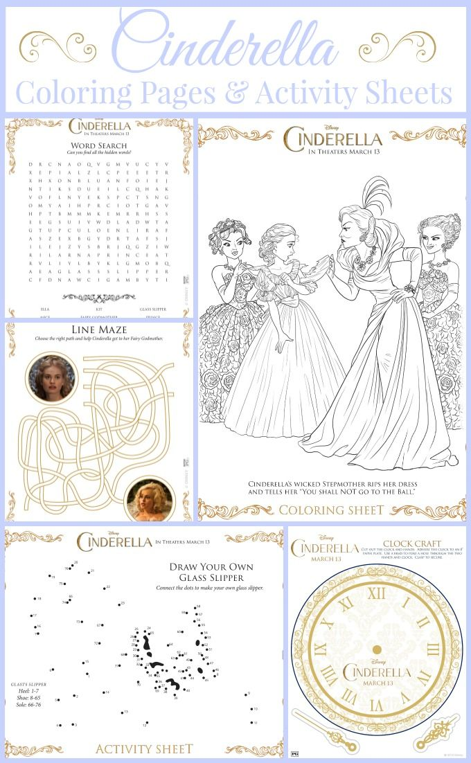 #New Disney's Cinderella Themed Movie Coloring Pages And Activity Sheets Free Printable Packet !