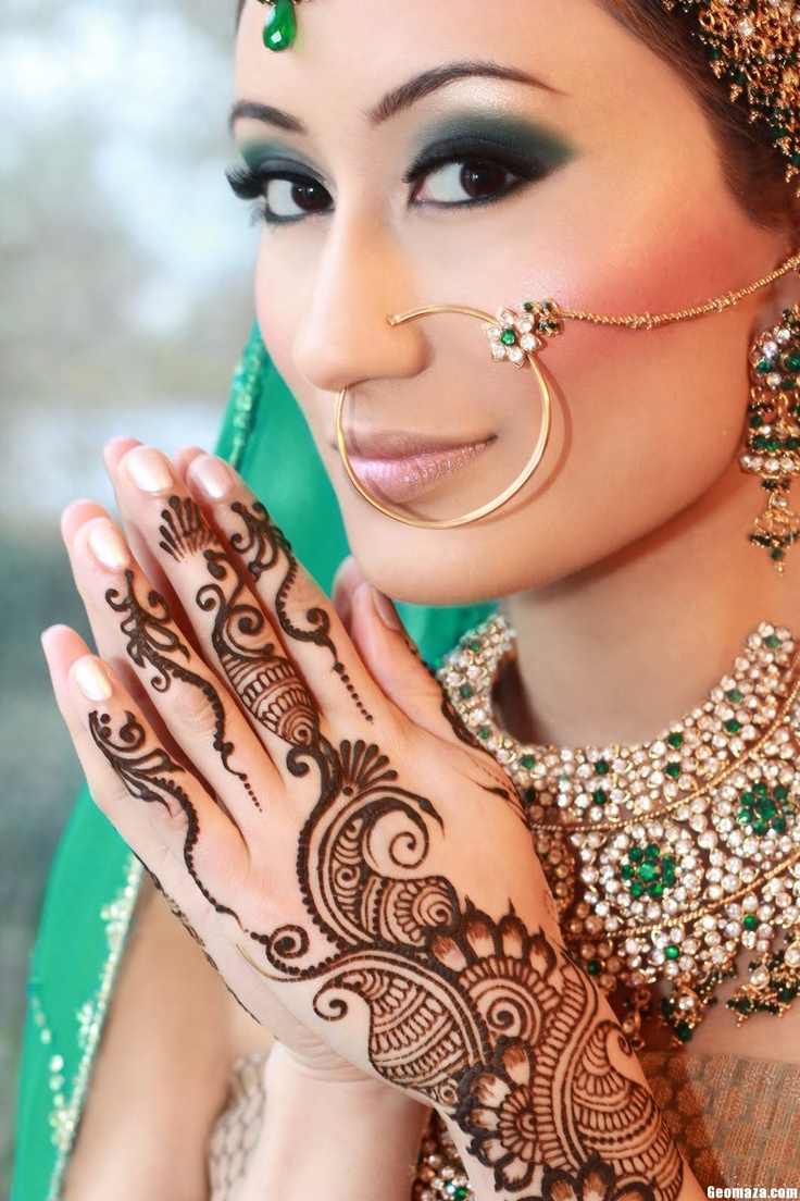 Bridal Mehndi New Designs. Except for the nose ring this looks pretty cool.