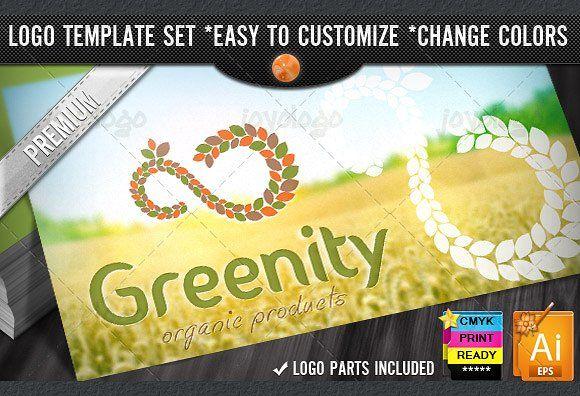 Eco Green Pixel Leafs Infinity Logo by joyologo on @creativemarket
