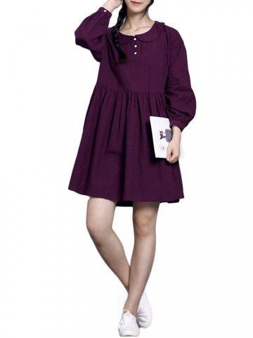 Donne Vintage Button Solid Pieghe risvolto allentato Cotone Lino mini vestito