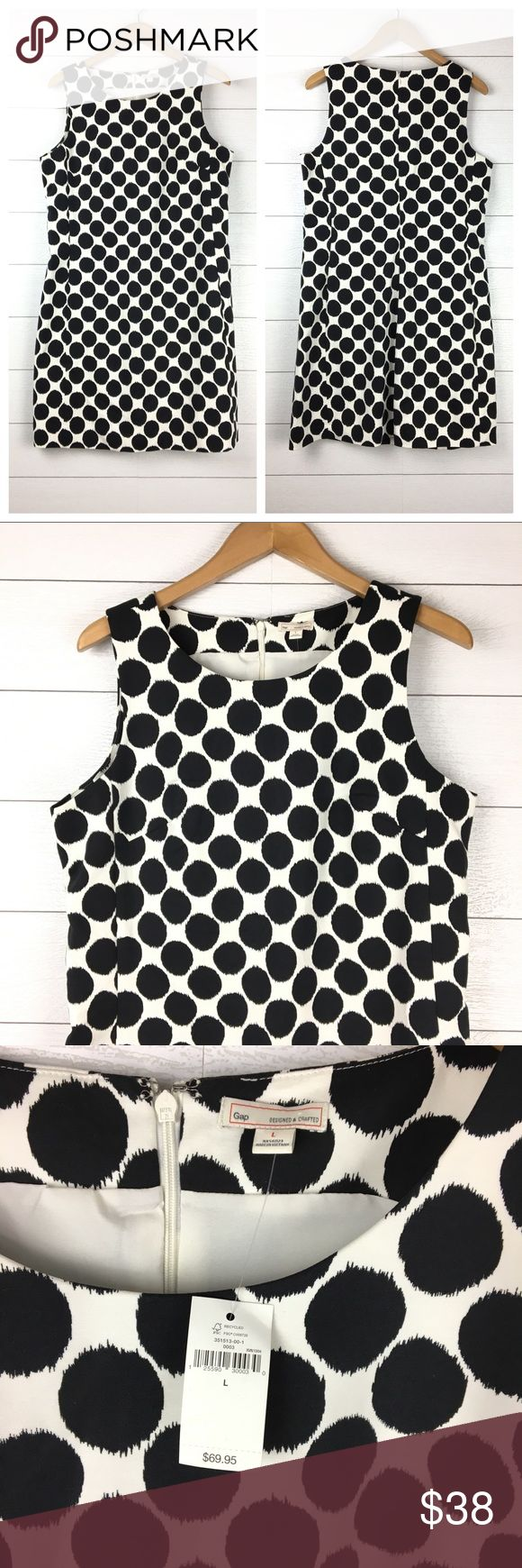 NWT GAP Polka Dot Brenda Career Dress 97% cotton, 3% spandex.  Lined.  GAP Brenda Printed Polka Dot Dress.  White dress with large black polka dots.  Zipper on back.  The perfect career dress.  Sheath style.  Sleeveless.  Brand new, with tag attached. GAP Dresses