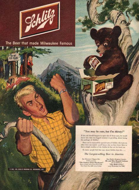 1951 Schlitz Beer print ad Bear Cub steals picnic by Vividiom, $8.00
