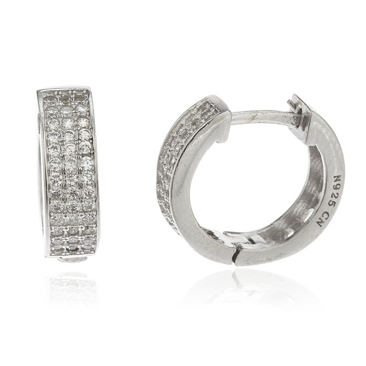 Real 925 Sterling Silver Iced Out Huggie Hoop Earrings with