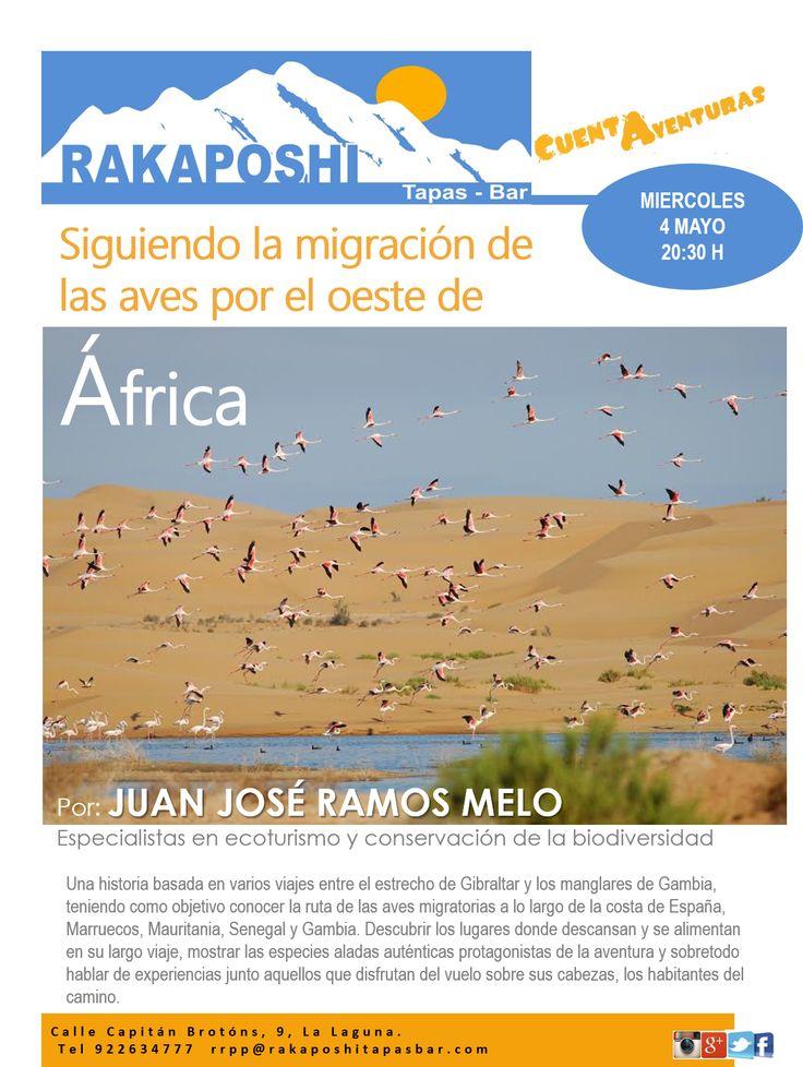 #cuentaventuras, mañana nos vamos a la costa oeste de África, disfrutaremos del pase de las aves migratorias de la mano de Juan José Ramos Melo. Te esperamos a las 20:30 h!!!