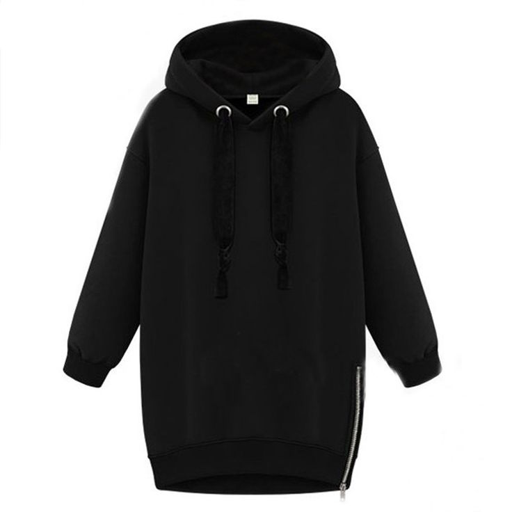 Winter Autumn  Fashion Women Long Sleeve Hooded Jacket Loose Warm Hoodies Solid Sweatshirt Plus Size 3 Colors - Black, XXXL Like and Share if you want this Visit our store