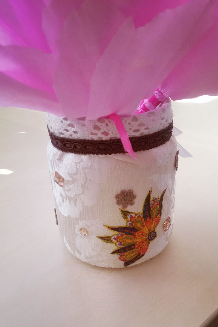 Decorative mason jar covered in material by Rocreanique
