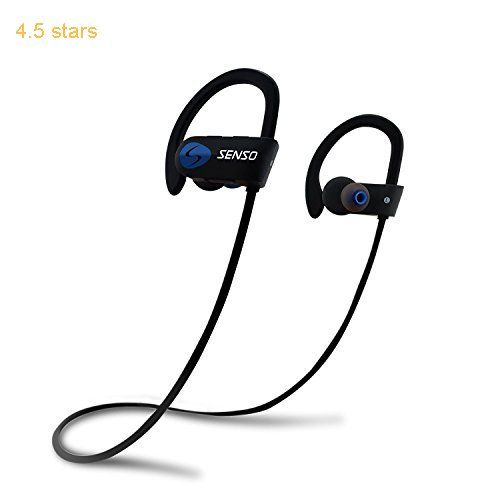 SENSO ActivBuds Bluetooth Headphones Best Wireless Sports Earphones w/ Mic IPX7 Waterproof HD Stereo Sweatproof Earbuds for Gym Running Workout 8 Hour Battery Noise Cancelling Headsets (Black/Blue)