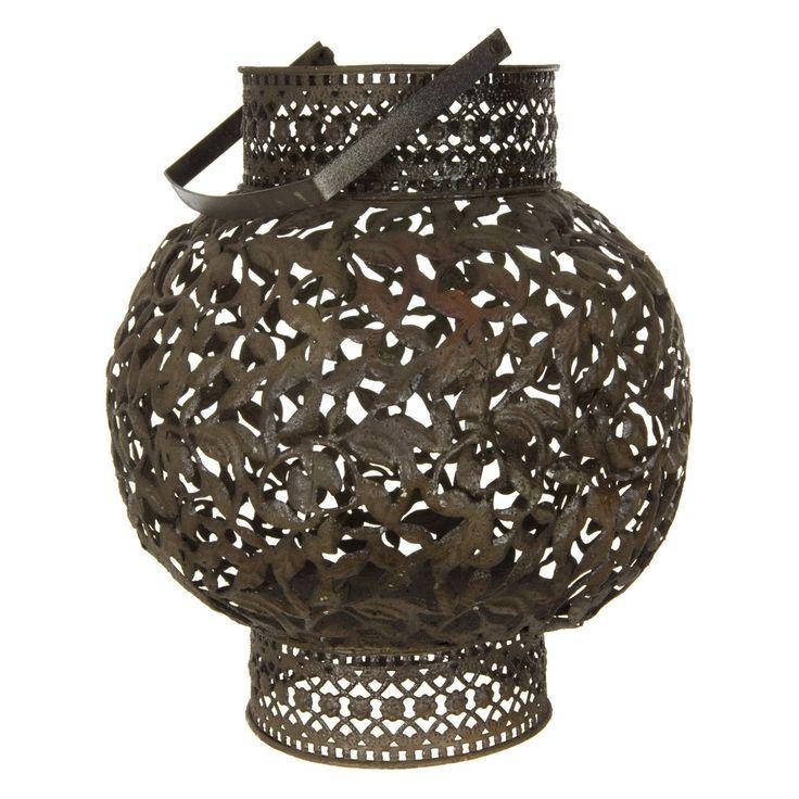 Oriental Furniture Rust Patina Wrought Iron Lantern   from hayneedle.com