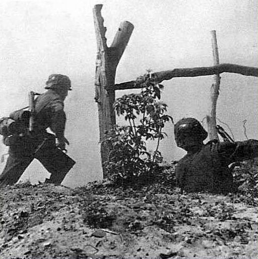 (17) while i desperately try to dig my machine gun out from the dirt, Swina throws  hand grenade at two russian. They fall and writhe around in the snow. Weichert has no time to reload his carbine, so he snatches grommel's out of his hands and fires at the Russians who are about to jump into our trench. i hit the 2nd Russian with a postal shot. Blood drips from the wound in his throat; crying, he runs back.  Others run with him.