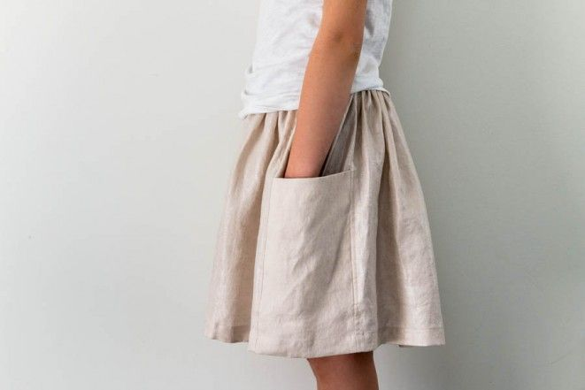 Gathered Skirt for All Ages in Mineral Linen | Purl Soho - Create