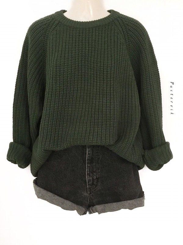 Mein True Vintage 80er Grobstrick Oversize Pullover Pulli Knit Wear Grün Street…