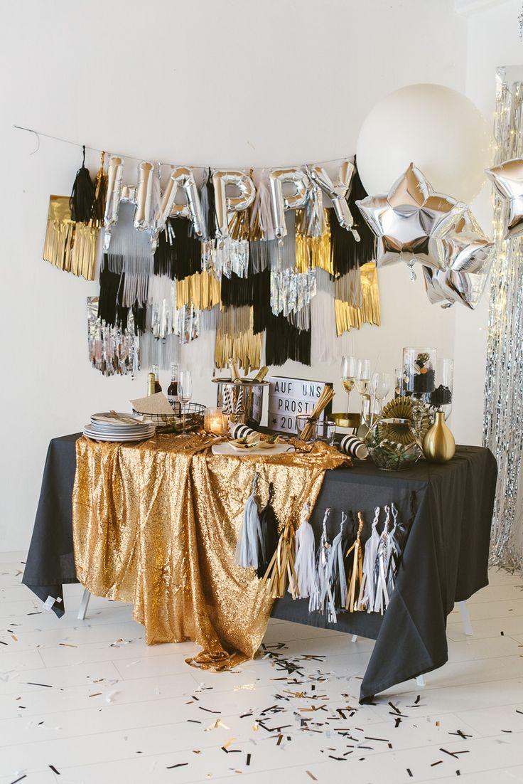 Silvester Party in Gold, Silber und Schwarz