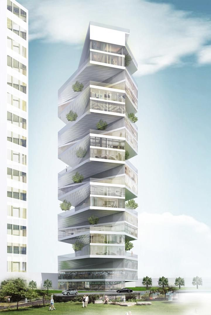 With each unit rotating 45 degrees, residents of the Writhing Tower in Peru will have uninterrupted views of both the public park and the ocean.   http://www.mymodernmet.com/profiles/blogs/lycs-writhing-tower