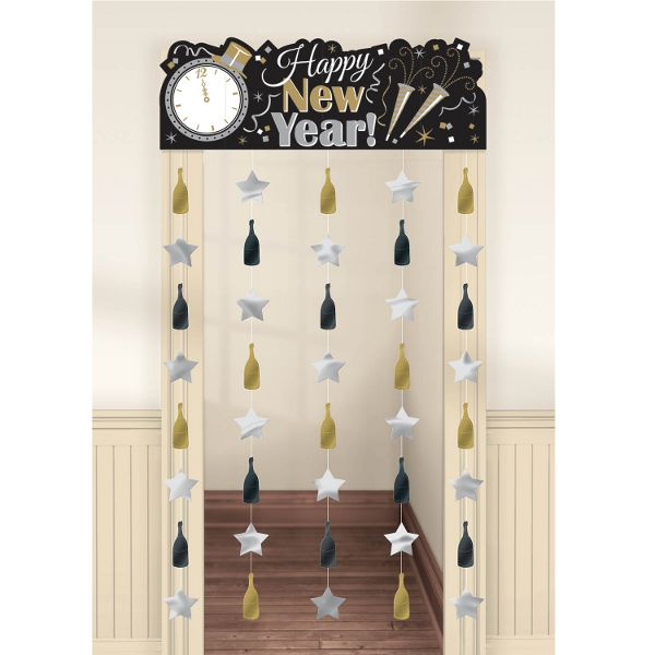 Black Silver and Gold Happy New Year Doorway Curtain                                                                                                                                                                                 Mais