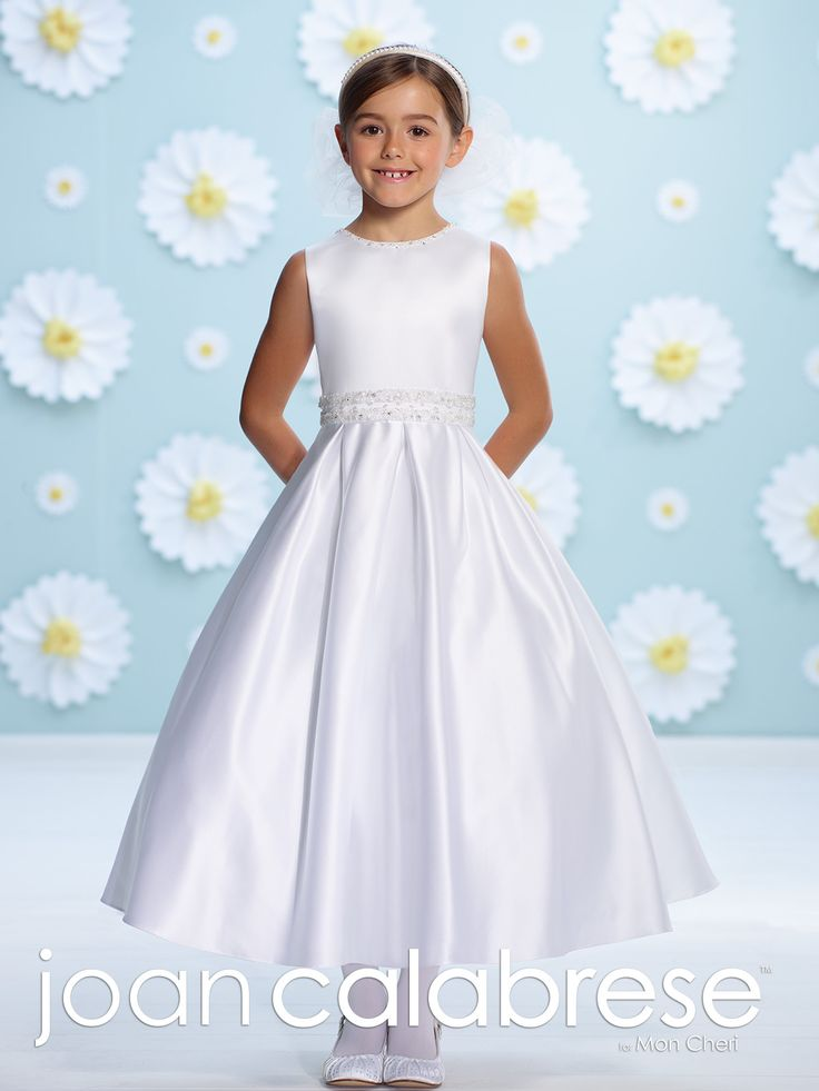 Sleeveless satin tea-length A-line dress, hand-beading trims jewel neckline and deep V-back, beaded natural waist, back large flower with center beading, box pleated full skirt. Also available in half sizes 8½ – 14½ in White only. Sizes: 2 – 14 Colors: White, Ivory