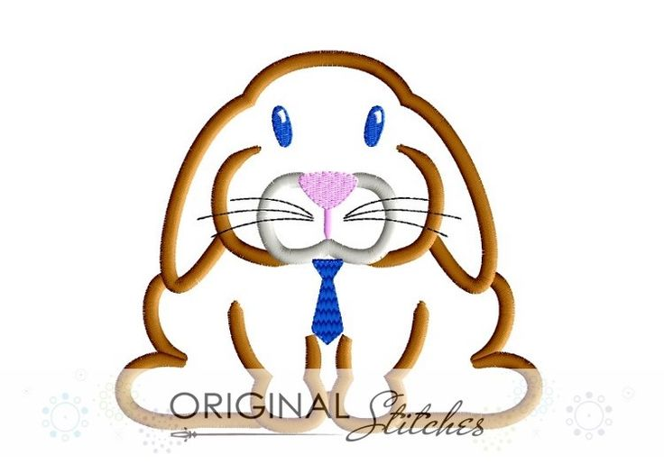 Lop Eared with Tie, Machine Embroidery and Applique Designs Downloads | Original Stitches - Embroidery and Applique Design Store