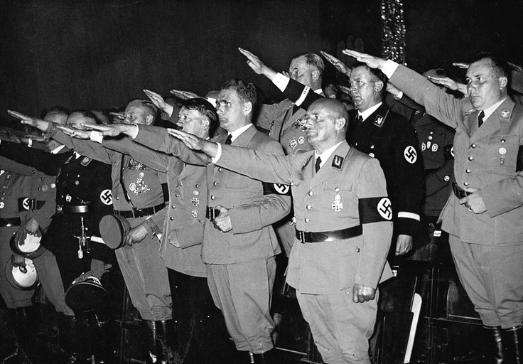 Nazi Party Day in 1937. The figure on the extreme right is Martin Bormann, who at the time was a Gauleiter.