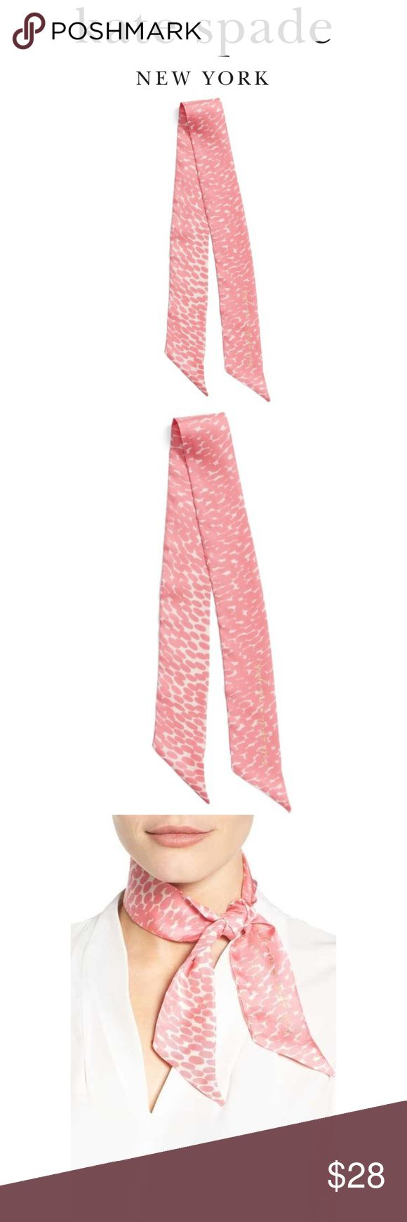 Kate Spade Dappled Silk Scarf Skinny silk scarf. Perfect for a Bag, a scarf, Bandanna, headband. Couple small snags as pictured. Priced accordingly. kate spade Accessories Scarves & Wraps