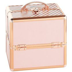 Add a professional look to your beauty storage with the blush pink vanity case. Fantastic for professional salons, makeup artists and home users alike, this contemporary beauty case is ideal for storing, transporting all those beauty essentials! Extremely spacious 3 tier design comes equipped with 9 separate compartments in the top extendable trays, 2 trays below and a large bottom section for bigger beauty bits. Built to last, the case features a strong PVC outer hard case with stylish…