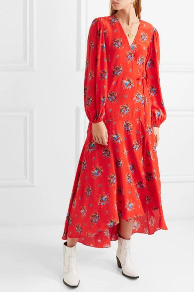 ac12e571 GANNI | Kochhar floral-print washed-silk wrap dress | NET-A-PORTER.COM