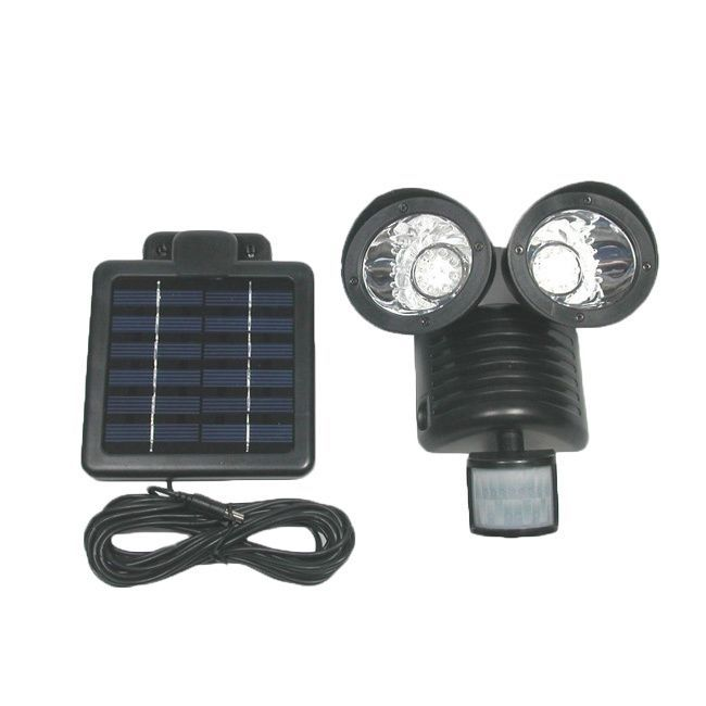 tricod 22led black motion sensor security solar flood light black plastic