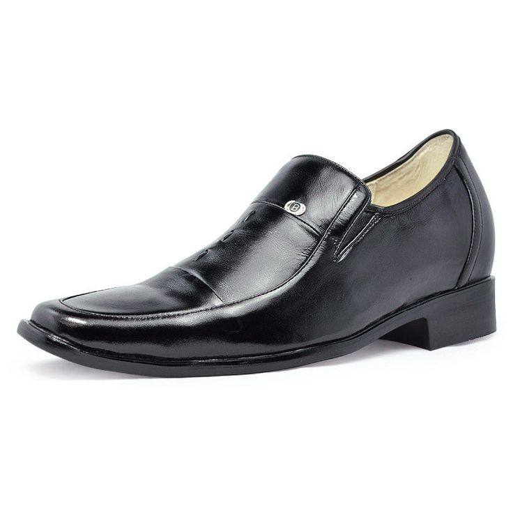 Black  male shoe lifts 7cm / 2.75inch with the SKU:MENJGL_4024 - Black dress heighten shoes 7cm / 2.75inch height increase shoes