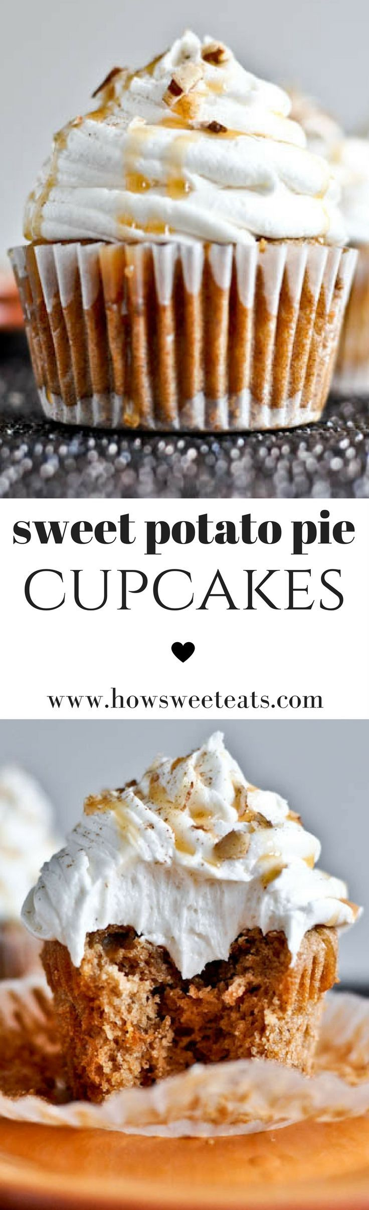 Sweet Potato Pie Cupcakes with Marshmallow Frosting!! I howsweeteats.com @howsweeteats #thanksgiving