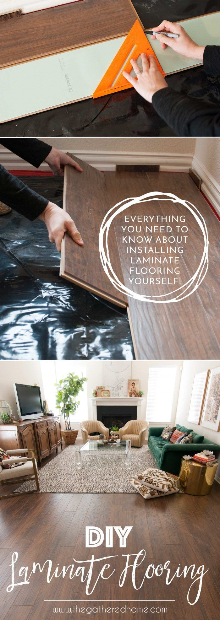 Thinking of laminate flooring? You won't want to miss this post! It's full of information on how to tackle laminate flooring yourself... From concrete subfloor leveling to laying the laminate planks, it's all in this post! Pin for later!