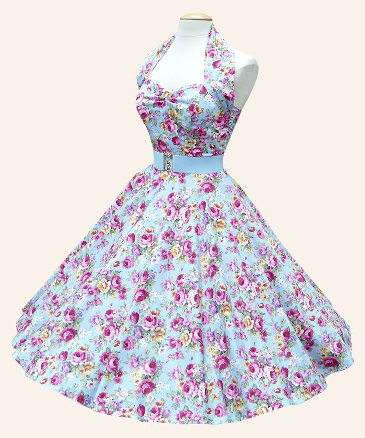 50s Halterneck Floral Dress   1950s Dresses from Vivien of Holloway