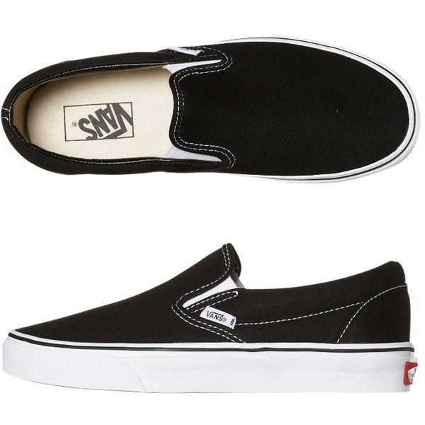 Vans Womens Classic Slip On Shoe ($65) ❤ liked on Polyvore featuring shoes, vans, black, slip on shoes, black shoes, vans footwear, kohl shoes and black slip-on shoes