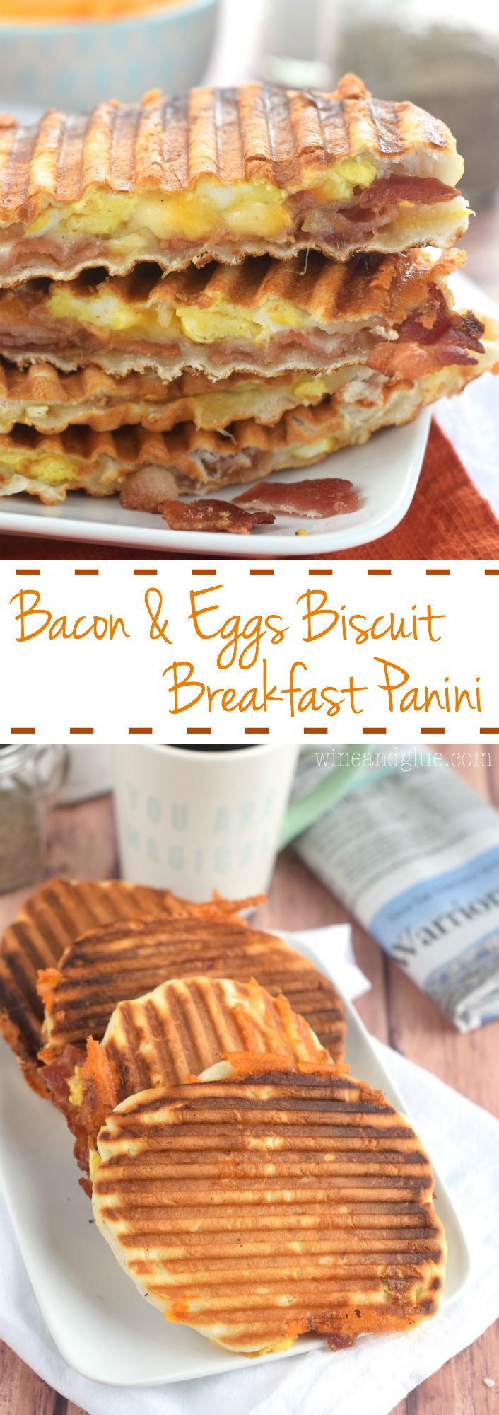 This Bacon and Eggs Biscuit Breakfast Panini is FOUR ingredients and and all but the last two steps can be done ahead of time making it a fast breakfast!