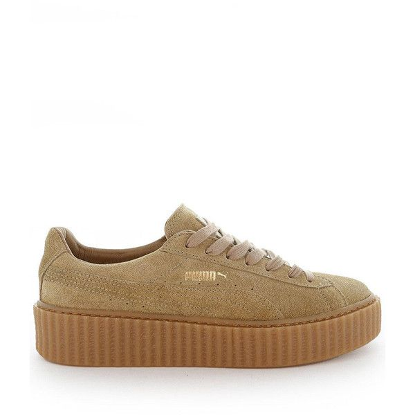 puma by rihanna creeper (390 BRL) ❤ liked on Polyvore featuring shoes, brown shoes, puma footwear, suede leather shoes, brown platform shoes and platform shoes